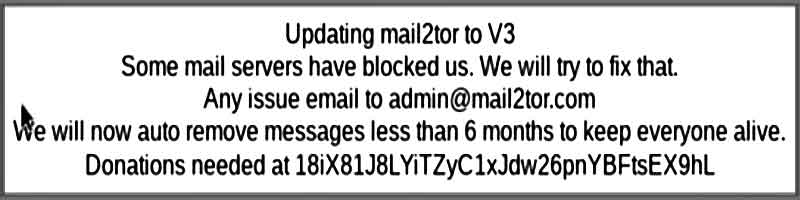 Message d'attention de Mail2tor